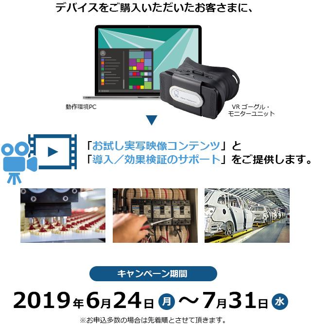 デバイスをご購入いただいたお客さまに、 「お試し実写映像コンテンツ」と 「導入/効果検証のサポート」をご提供します。 キャンペーン期間 2019年6月24日(月)~7月31日(水)